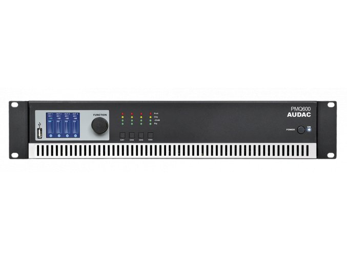 AUDAC PMQ600 Koncový zesilovač 4 x 600W RMS @ 100V, digitální topologie Class-D