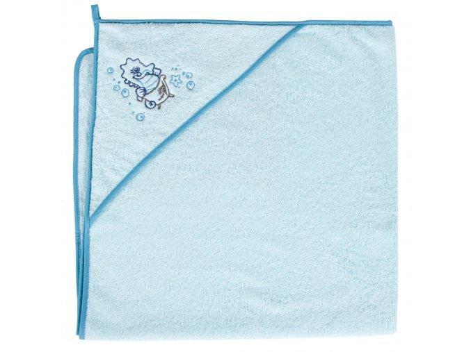 Ceba Froté ručník s aplikací a kapuckou 100x100 Mořský koník tyrkysový