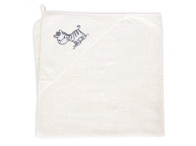 Ceba Froté ručník s aplikací a kapuckou zebra Creamy
