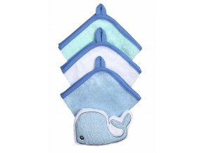Baby Ono Souprava 3 mycích utěrek s houbičkou - modrá