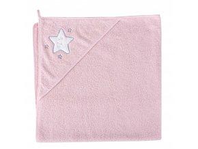 Ceba Froté ručník s aplikací a kapuckou 100x100 Hvězdy růžová