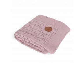 CEBA Pletená deka 90x90 Rybí kost růžová