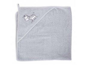Ceba Froté ručník s aplikací a kapuckou 100x100 Zebra šedá