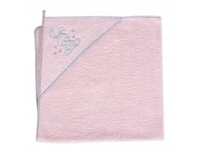 Ceba Froté ručník s aplikací a kapuckou 100x100 Králíček růžový