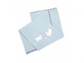 Pletená deka Králíčci modrá