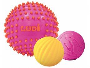 Ludi Senzorické míčky 3 ks růžové