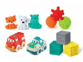 Infantino Sada senzorických hraček s autíčky a zvířátky