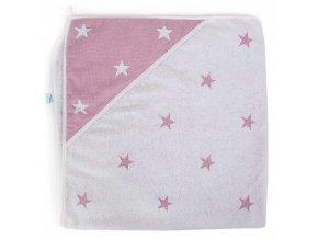 Ceba ručník s kapucí 100x100  Stars Pink Melange