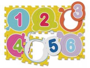 Hračka puzzle pěnové Čísla 30x30 cm, 6 ks