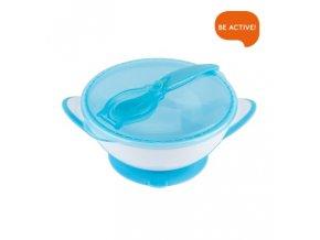 Baby Ono Miska uzavíratelná s přísavkou, lžičkou - modrá 300 ml