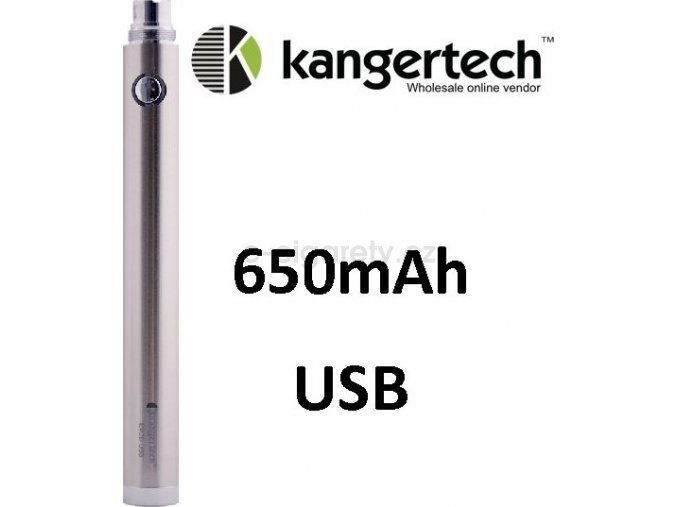 Kangertech EVOD baterie s USB 650mAh Stříbrná