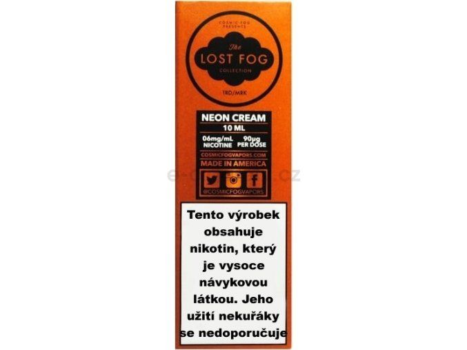 Liquid COSMIC FOG - LOST FOG Neon Cream 10ml-3mg