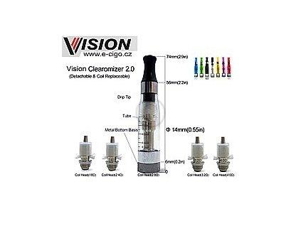 Vision eGo clearomizér 2.0 černý 2.4ohm