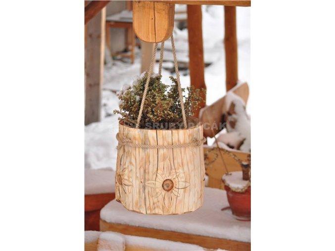 Dřevěný květináč - závěsný