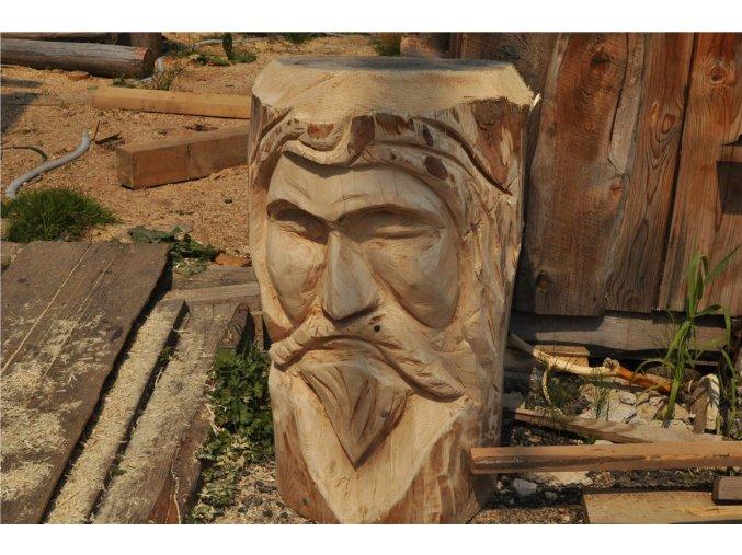 Dřevěná socha, Obličej starce