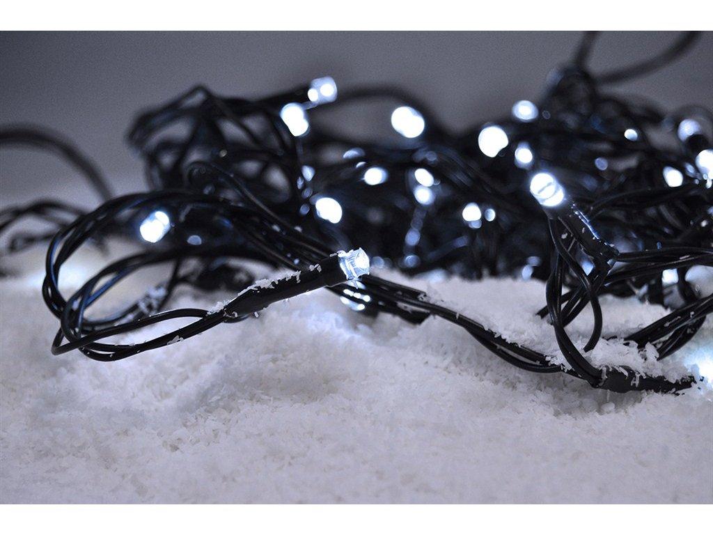 Solight LED venkovní vánoční řetěz, 50LED, 5m, 3m přívod, 8 funkcí, IP44. 3x AA, studená bílá