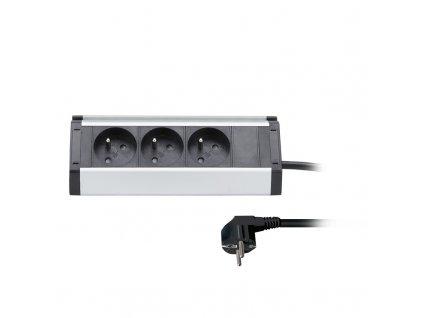 Solight prodlužovací přívod, 3 zásuvky, 1,5m, 3 x 1mm2, hliník, rohový design