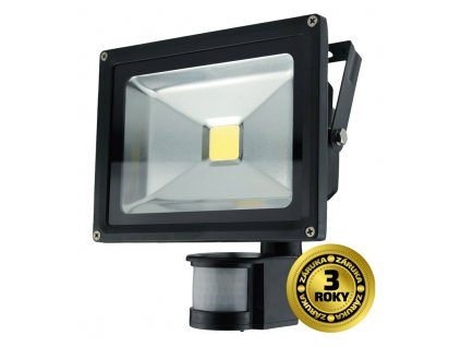Solight LED venkovní reflektor, 20W, 1400lm, AC 230V, černá, se senzorem