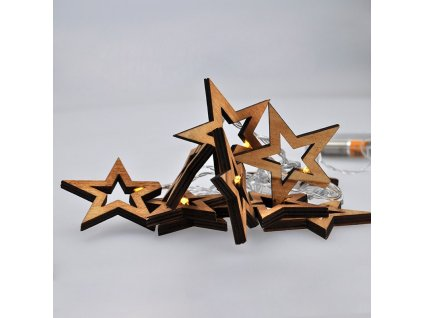 Solight LED řetěz vánoční hvězdy dřevěné, 10LED řetěz, 1m, 2xAA, IP20  + SLEVA 7 % s kódem AKCE7
