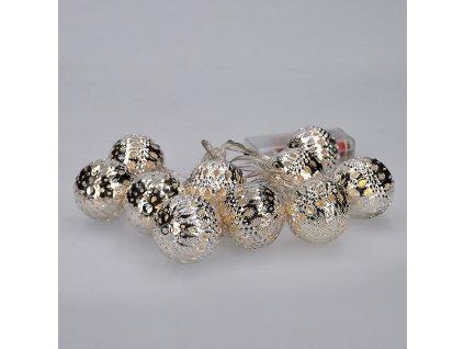 Solight LED řetěz vánoční koule stříbrné, 10LED řetěz, 1m, 2x AA, IP20