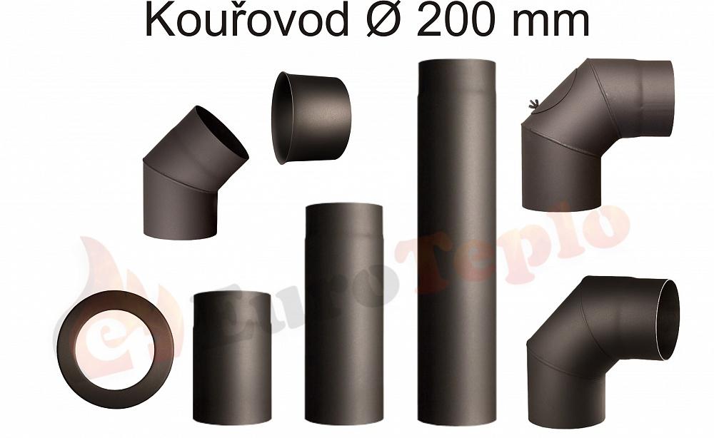 Kouřovody průměr 200 mm Koleno 90°: průměr 200mm s čistícím otvorem