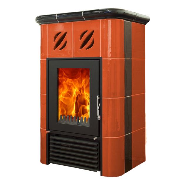 Mijava Mini NOVA - odstín oranžová/černá Litinové topeniště: Horní vývod