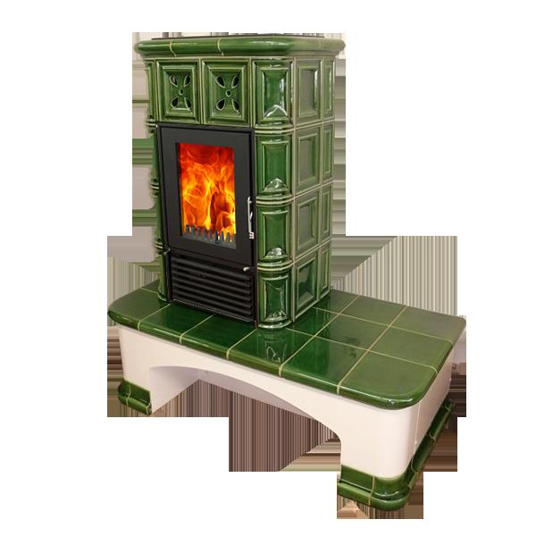 Lavička pro kachlová kamna - odstín Zelená vodní