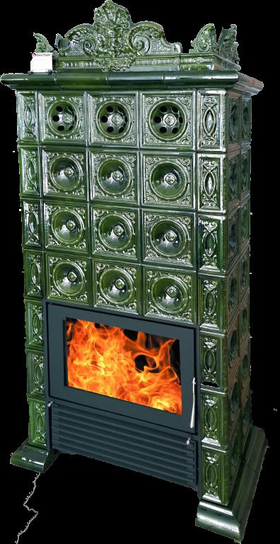 Mijava BAROKO - Rozšířené, odstín zelená lahvová Litinové topeniště: Horní vývod