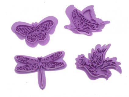 razítka motýli růžová