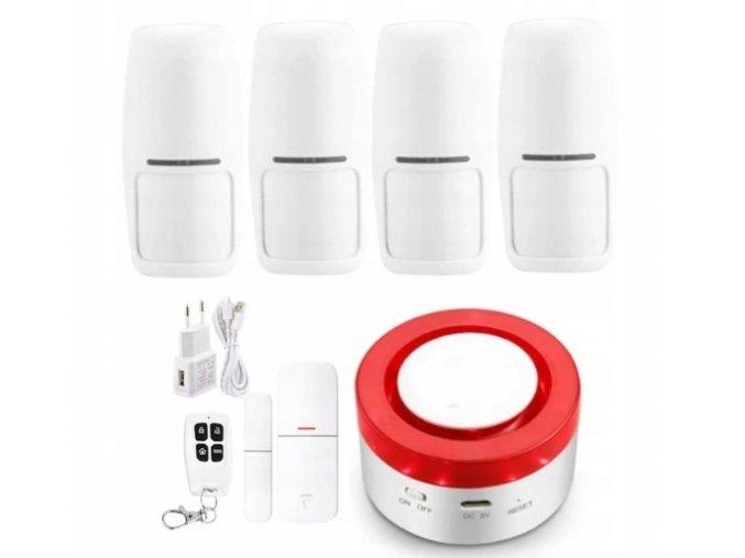 Alarm bezprzewodowy system 4 czujeki WiFi syrena