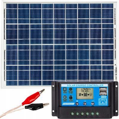 Solar Solární Panel 50W 12V REGULATOR Fotovoltaický panel