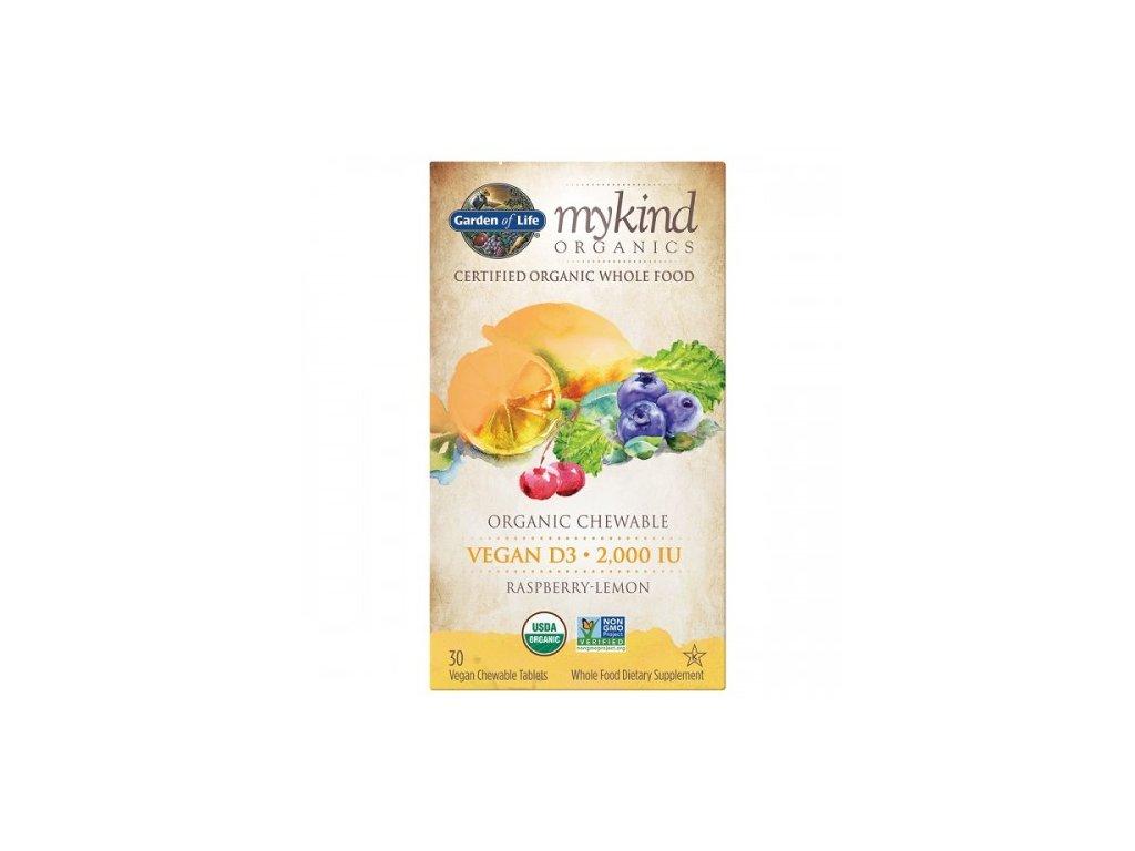 mykind Organics Chewable Vegan D3 s prichuti maliny a citronu 500x600