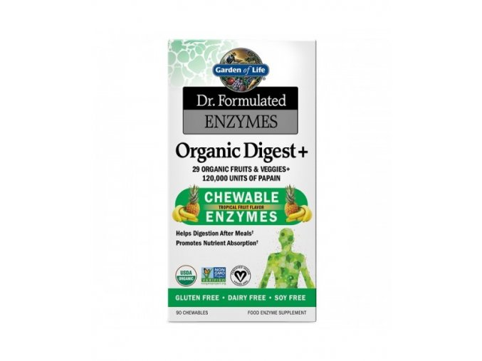 Dr. Formulated organicke enzymy na podporu traveni s prichuti tropickeho ovoce 500x600