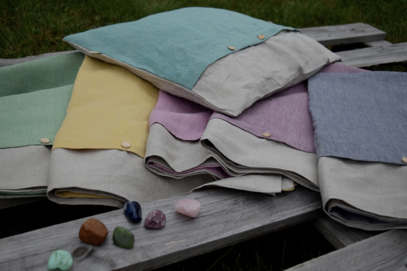 Barevné lněné polštářky Stones| E-len