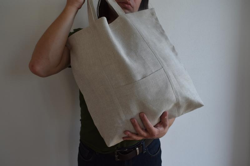 Lněná taška s kapsou| E-len