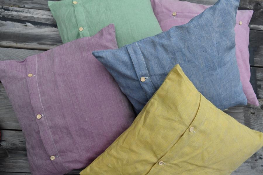 Lněné barevné polštářky HERBAL