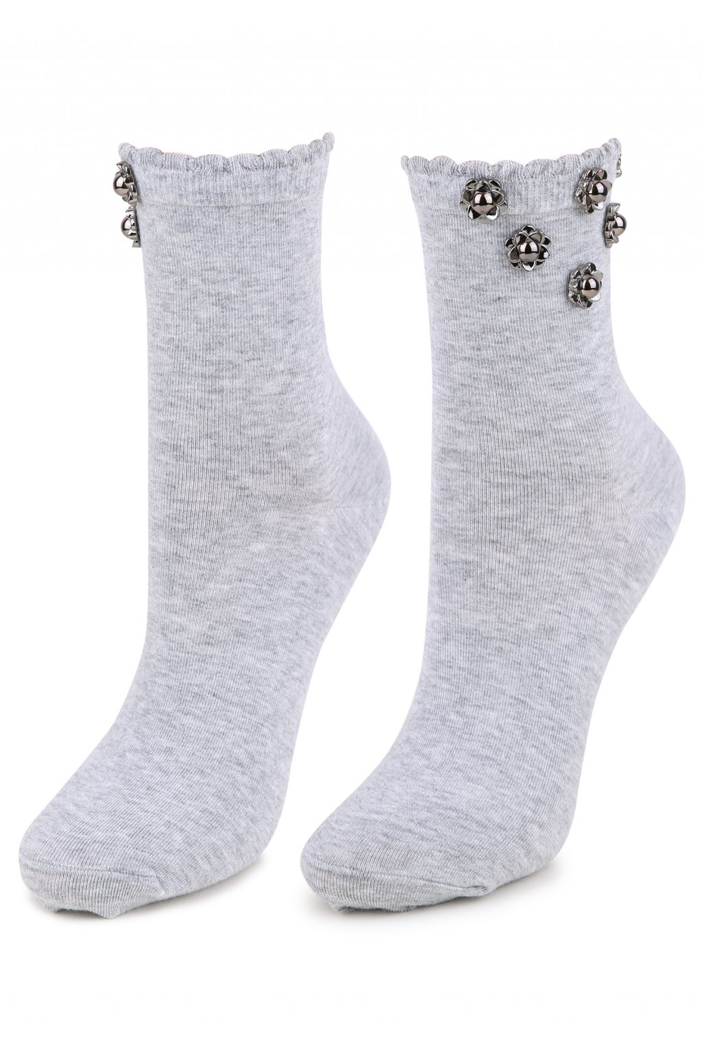 Dámské ponožky zdobené květinkami SC P46