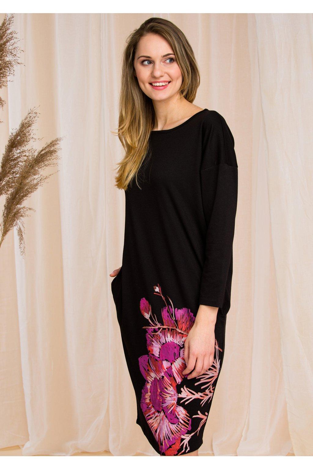 Pohodlné šaty - homewear se vzorem květů LHD 902 KEY