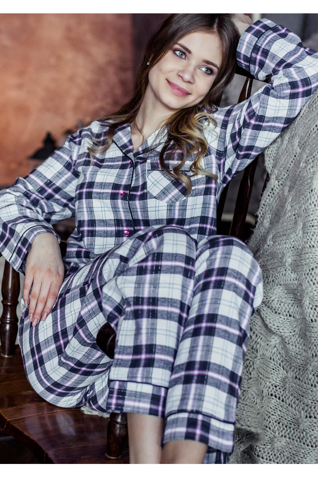 Dámské flanelové kárované pyžamo LNS 417 KEY