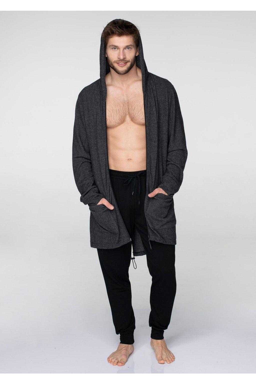 Dlouhá pánská mikina - homewear s kapucí MHM 013