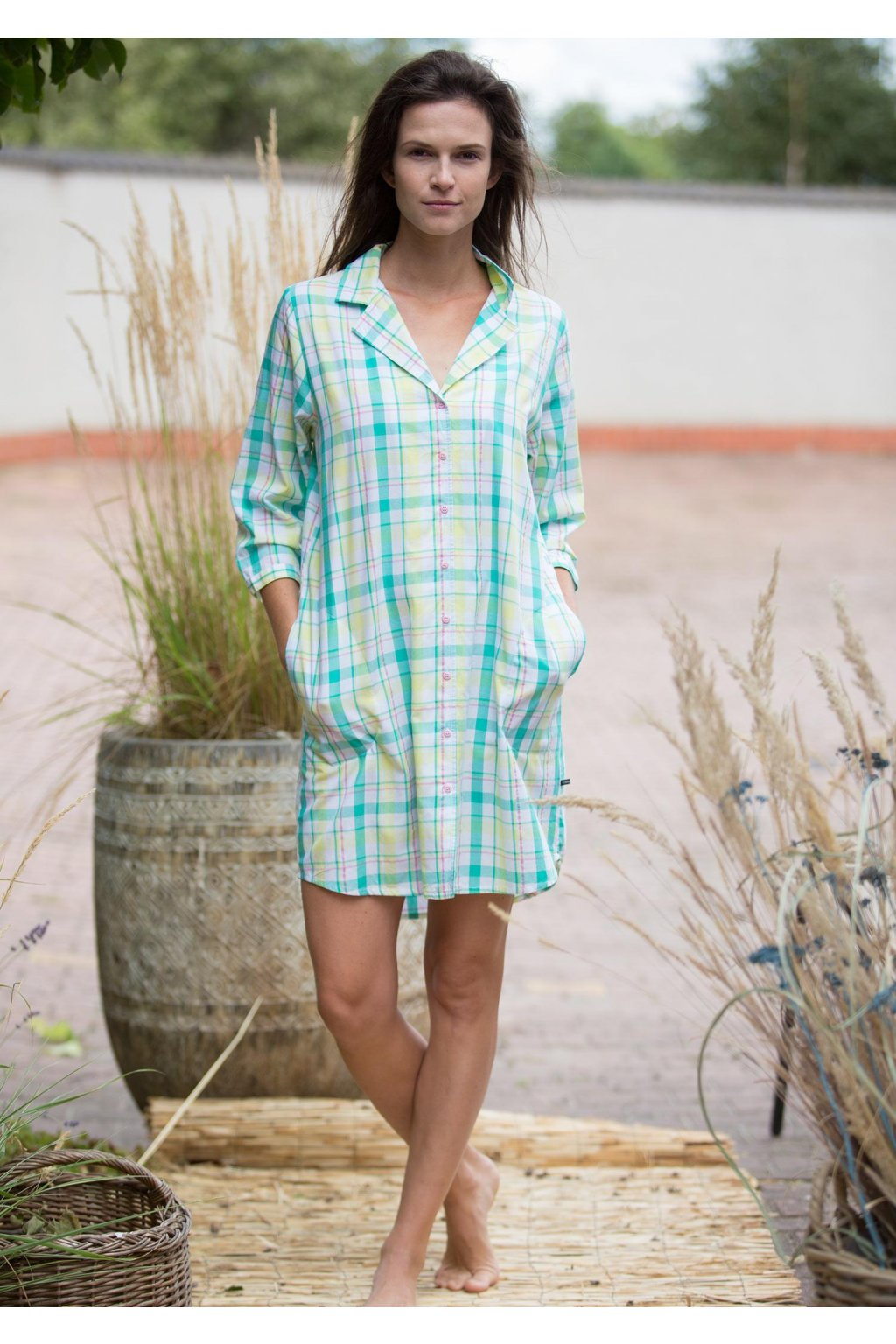 koszulowa sukienka nocna w kratke lnd 453 2