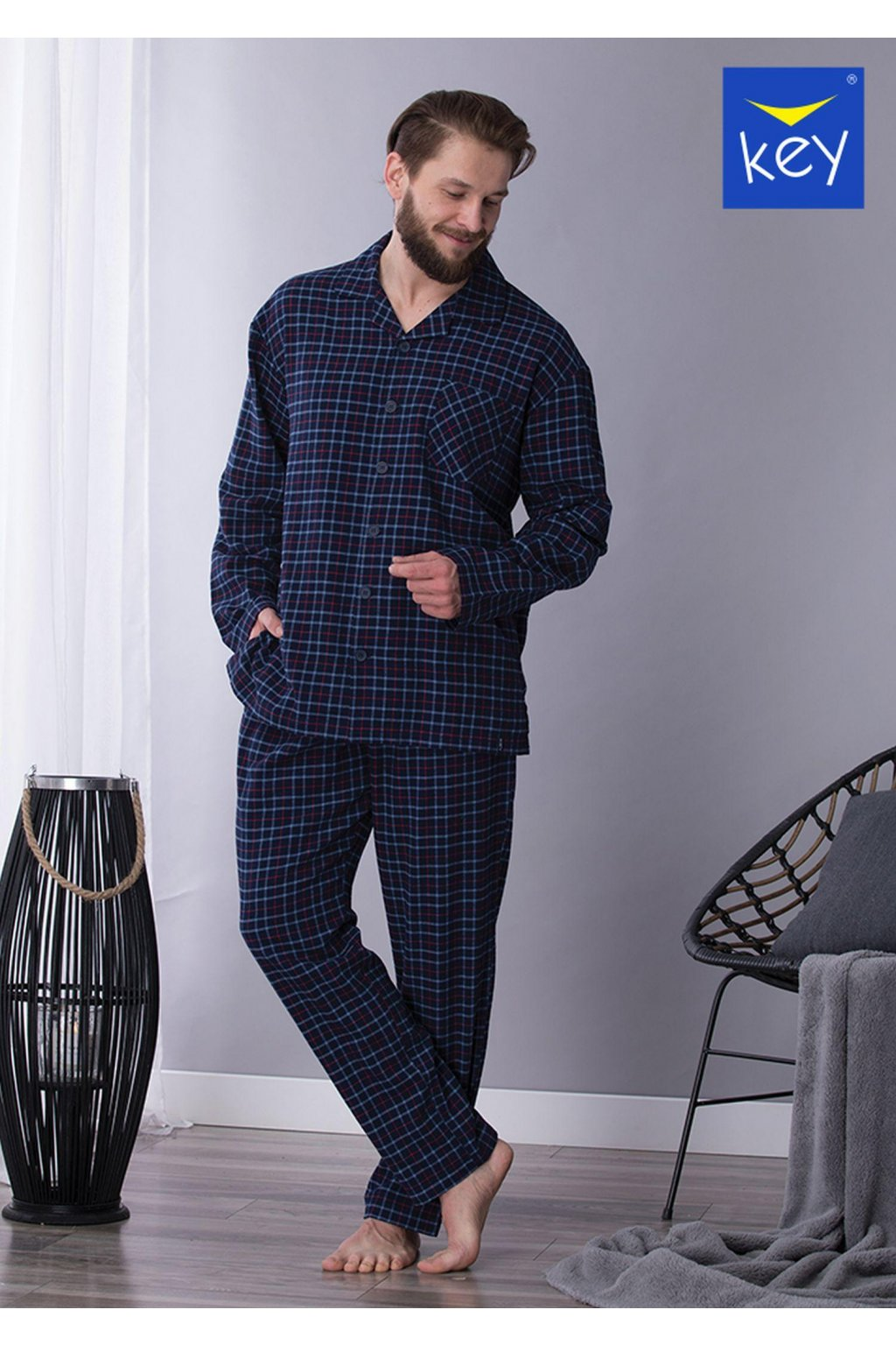 Pánské flanelové kárované pyžamo MNS 458 KEY
