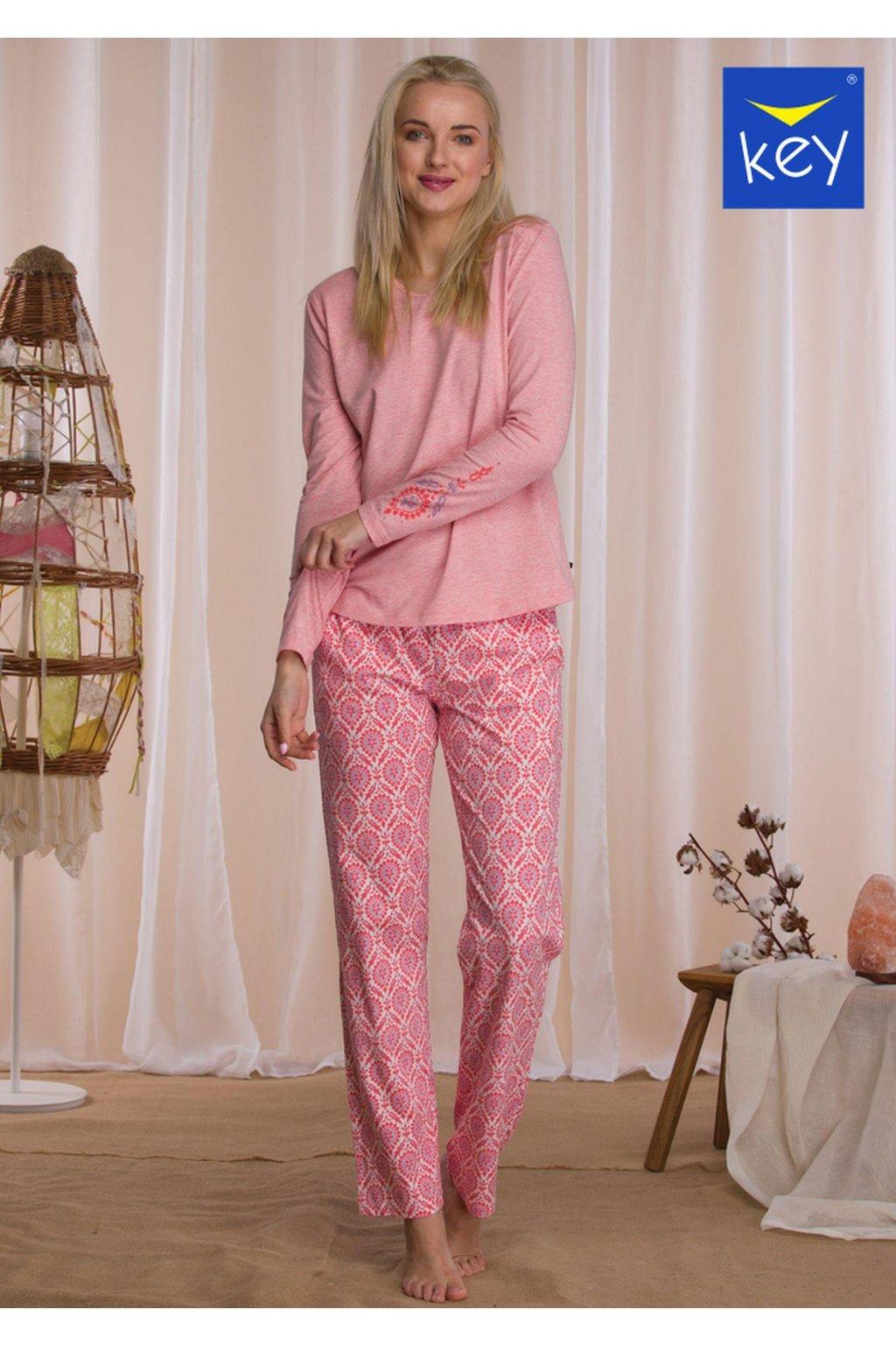 klasyczna bawelniana pizama damska z wzorzystymi spodniami lns 500 1