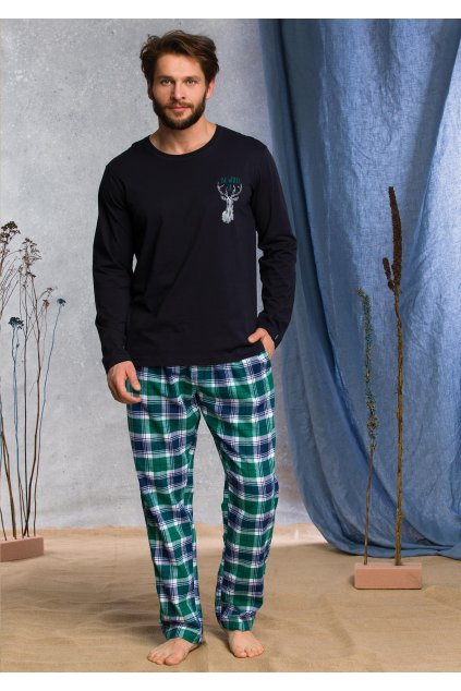 pizama meska z flanelowymi spodniami mns 489 1