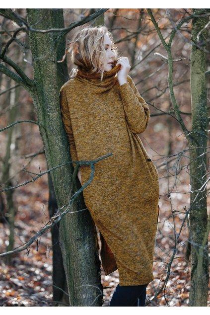 sweterkowa melanzowa sukienka homewear lhd 202 1