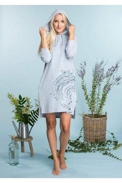 Úpletové šaty na doma s kapucí - homewear LHD 711 KEY