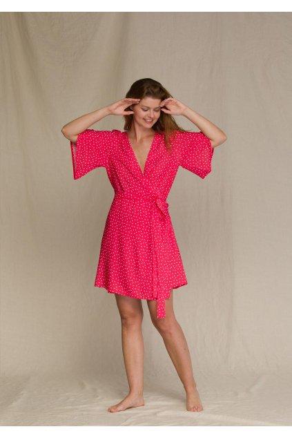 wiazana sukienka damska w groszki homewear lhd 946 1