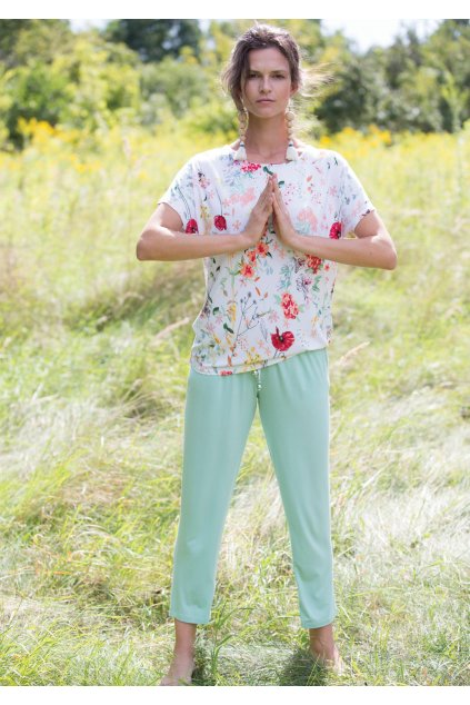 pizama damska z bluzka w kwiaty lns 906 3