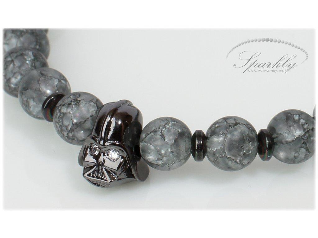 Pánský náramek Darth Vader z praskaného křišťálu