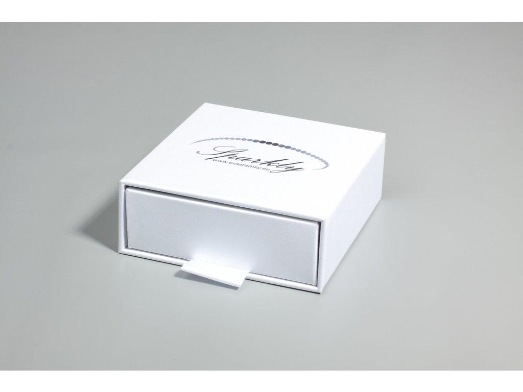 Bílá dárková krabička Luxury s metalickým povrchem